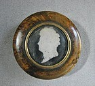 Burl and Tortoise Snuff Box -  Painted Silhouette ca 1830