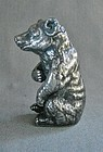 Silver Plate Match Holder Box Seated Bear 19th Century