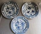 """Three Blue White Qing Plates - 18th-19th century - 8 3/4"""""""