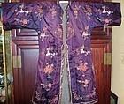 Aubergine Silk Embroidered Robe - Peking Knot
