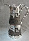 Silver Plate and Wood Wine Jug/Ewer ca 1900