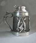 Silver Plate and Wood Stein with Exotic and Bizarre Creatures ca 1900