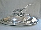 Large and Extraordinary Silver Plate Covered Lobster Platter