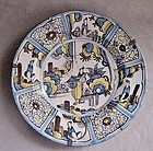 17th Century Polychrome Delft Charger - Unusual Asian Motif