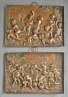 Pair Heavy Repousse Copper Plaques - Children Satyrs - Bacchanal