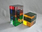 Merle Edelman - Layered Color Lucite Geometric Cube and Rectangle