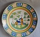 French Faience Delft Charger - Mill Scene - 19th Century
