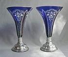 Pair Cobalt Enameled Silver Mount Bohemian Flared Vases
