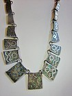 Vintage LOS BALLESTEROS  Sterling and Mosaic Necklace