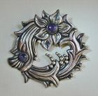 Absolutely Fabulous HUGE Silver/Amethyst Floral Brooch MEXICO Pre 1948