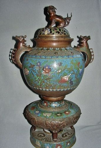"24"" Bronze and Cloisonne Chinese Censer"
