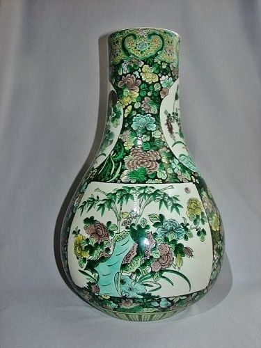 Large Famille Noir Bottle Vase Qing