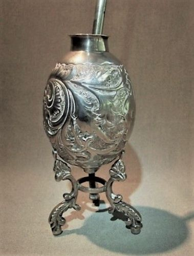 Silver Mate Cup and Bombilla - ca 1900
