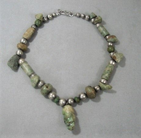 Pre-Columbian Greenstone and Jade Necklace w Silver Beads
