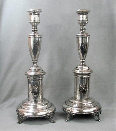 "16"" pair Austro-Hungarian Shabbat Siver Candlesticks"