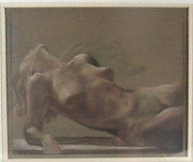 A. B. Davies Pastel of Sensual Nude Woman - Attribution