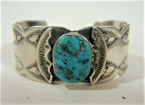 Interior Stamped Silver and Turquoise Bracelet - Signed - Hand Wrought