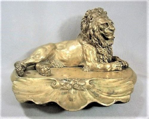 Recumbent Lion Bronze Inkstand - Exceptional Quality - 19th Century