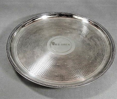 Nautical Engine Turned Footed Salver - USS Siren - 1940