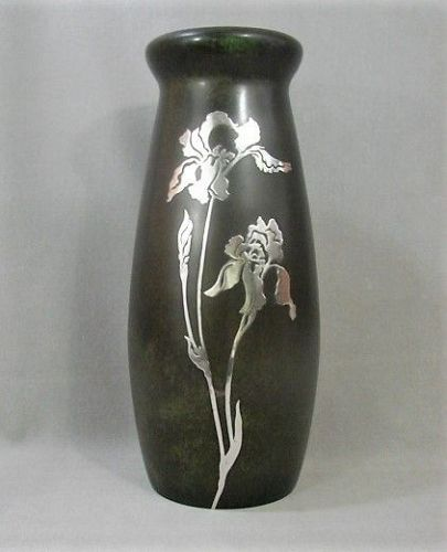 "Large 11 3/3"" Heintz Art Metal Vase -Bronze Verde Silver Iris - 1905"