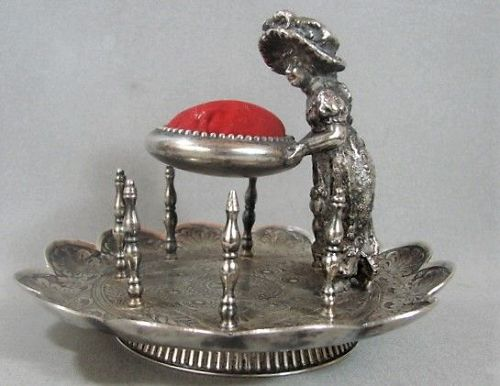 James Tufts Silver Plate Sewing Caddy -  Kate Greenaway Figure - 1880