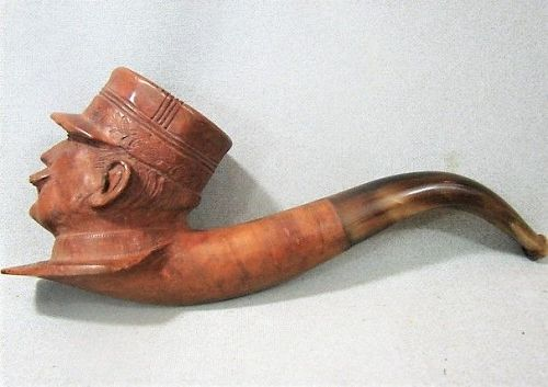 Carved WWI Military Pipe - Gen Joseph Joffre - 1918