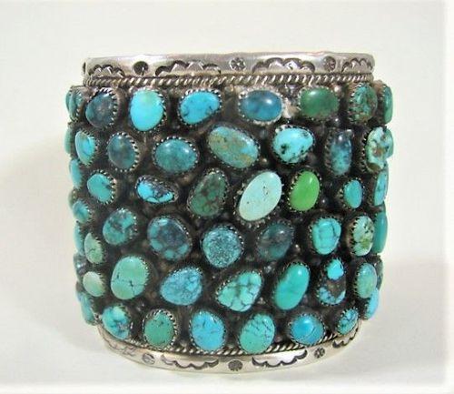 Grand Navajo Cluster Cuff Bracelet - 96 Stones - Fine Silverwork