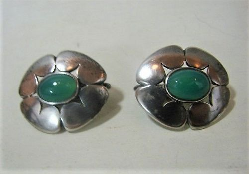 Madeleine Turner Sterling Clip Earrings - Floral - 1930-1950 - NYC