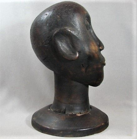 Fine Wood Sculpture of Head of African American Man - 19th Century