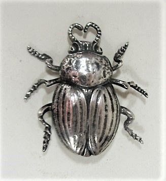 LARGE Cini Sterling Beetle Brooch - Mid Century