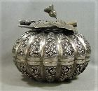 Isamic/Persian Silver Melon Shaped Box with Floral Finial - 19th Cent.