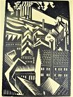 "E.M. Washington Woodblock Print ""Vorticist Wood Cut"" Artist Proof"