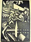 "E.M. Washington Woodblock Print ""Vorticist Wood Cut"" Artist Proof"