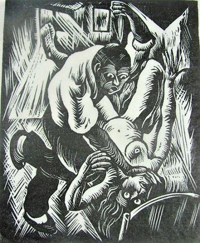 "E.M. Washington Woodblock Print - ""Race Mixing"" Limited Ed 2/30"