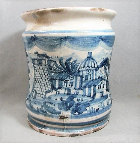18th Century Italian Tin Glaze Albarello - Blue White Town Scene