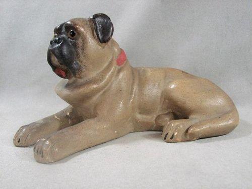 Terracotta Pug with Glass Eyes - 19th Century European