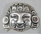 Large 980 Silver Mexican Face - Pre-columbian Image