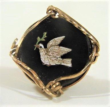 14K Micro Mosaic Ring - White Dove