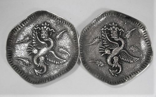Pair Chinese Silver Dragon Dishes