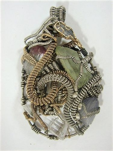 LARGE Gold Silver Wire Wrapped Pendant - Gemstones