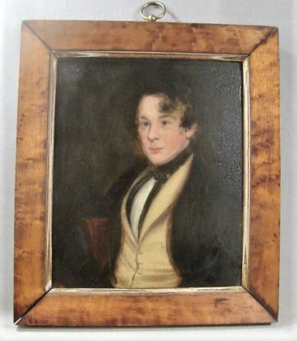 Early 19th Century Portrait of Young Man - Birdseye Maple Frame
