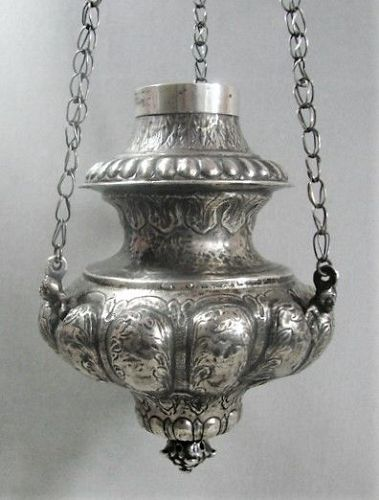 """Silver Spanish Colonial Hanging Censer - 15 1/2"""""""