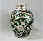 """Sterling Overlay on Emerald Glass Vase - 5 1/8"""" - Perfect!"""