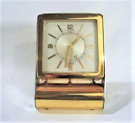 LeCoutre 8 Day Travel Alarm Clock - Folds - ca 1950