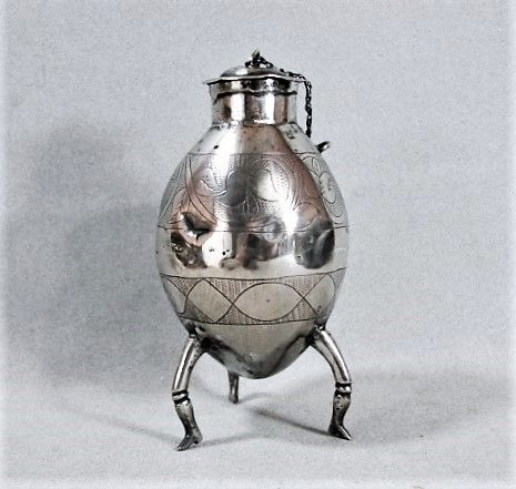 Unusual Silver Mate Cup - Lidded Ovoid Form with Legs - 19th Century