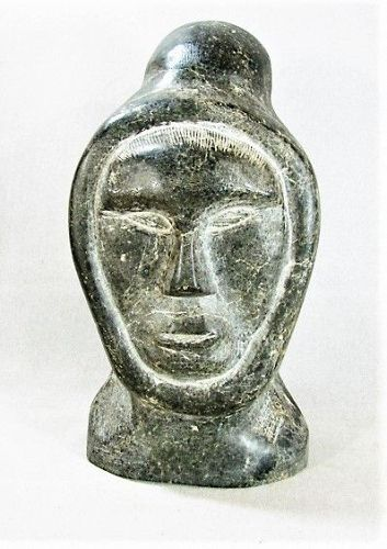 Inuit Soapstone Carving - Janus Faces - Hooded Man and Owl