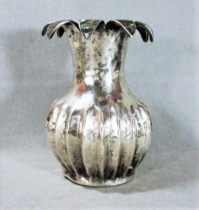 Los Castillo Taxco Hammered Melon Vase with Abalone Petals