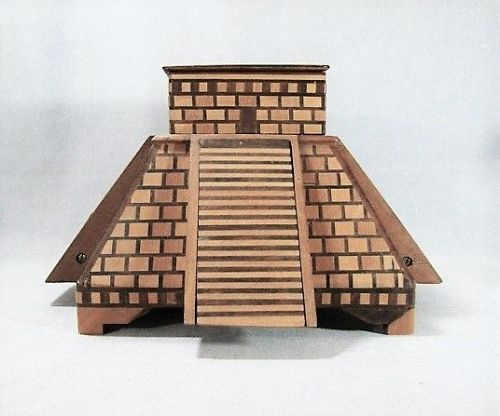 Folk Art Model of Pyramid - Tobacco & Cigarette Holder - Inlaid Wood