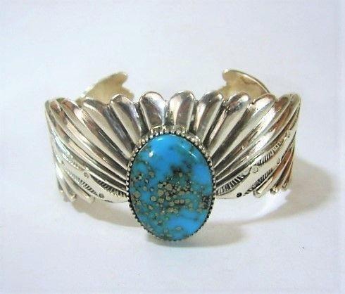 Lee Nieto Sterling and Turquoise Bracelet - Modernist Design