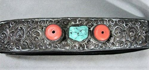 Tibetan Silver Coral and Turquoise Belt Buckle on New Leather Belt